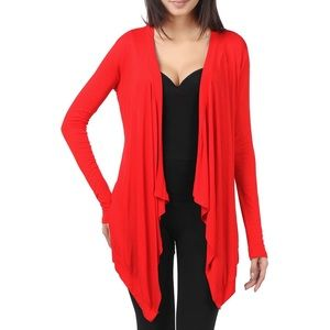 Sweaters - Long Sleeve Knit Drape Open Cardigan Red NWT